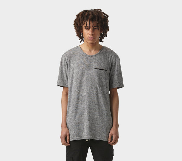 Pocket Scoop Tee - Grey Speckle