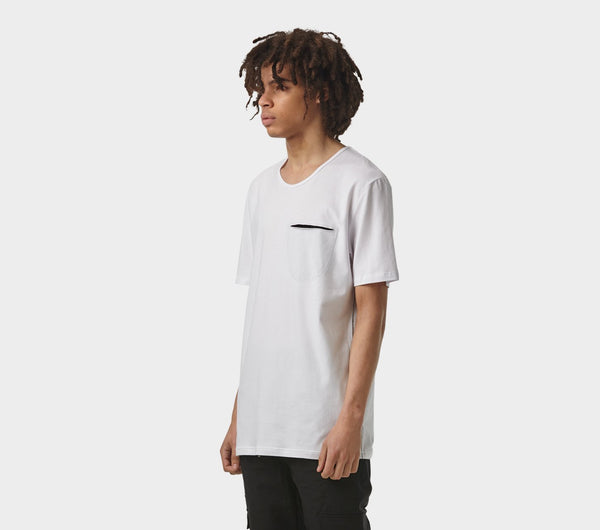 Pocket Scoop Tee - White