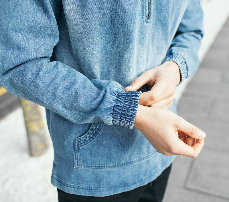 Half Zip Hood - Denim