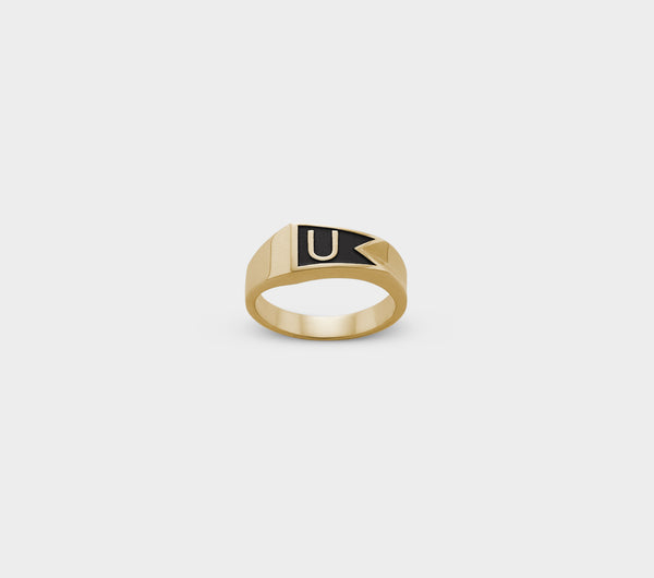 Flag Ring - Gold Oxidised