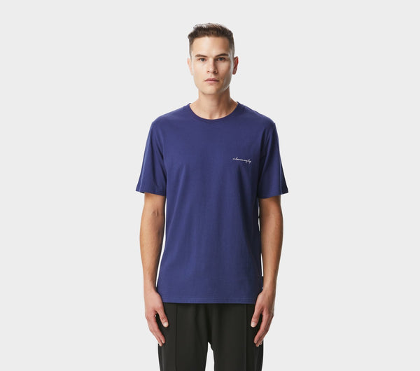 Script Tee - French Navy