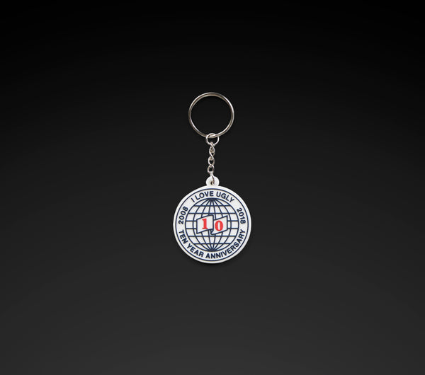 10 Year Anniversary Key Ring - White