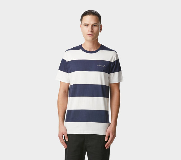 Fat Stripe Tee - Navy/White