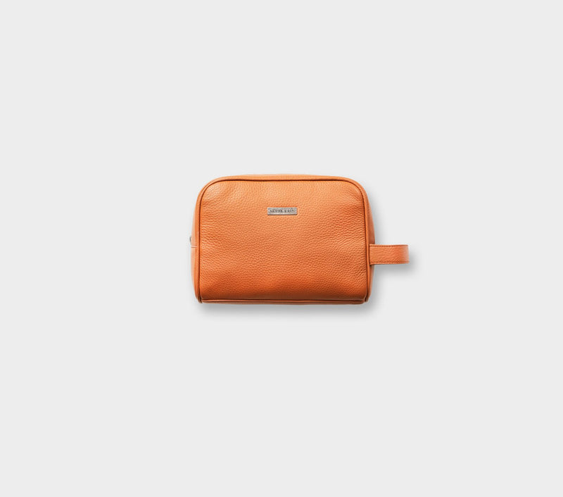 Wash Bag - Tan Leather