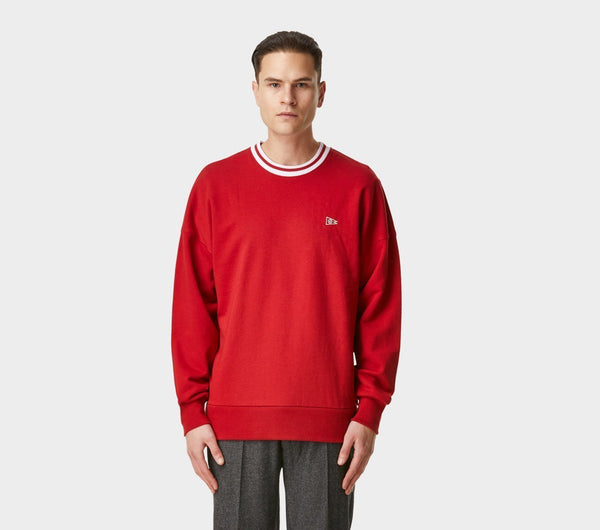 Stripe Ribbed Wallace Crew - Chilli Red