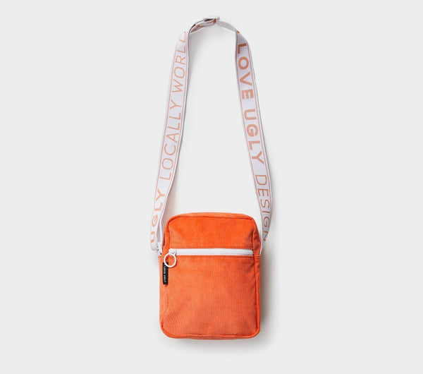 Wallace Messenger Bag  - Tangerine Corduroy