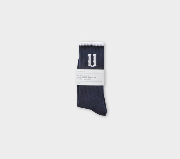 U logo Sock - Navy