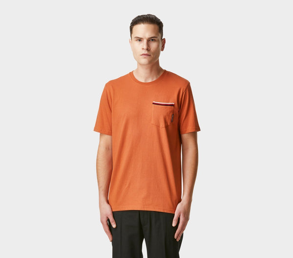Striped Pocket Tee - Burnt Orange