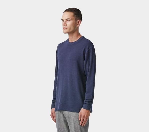 Waffle Long Sleeve Tee - French Navy