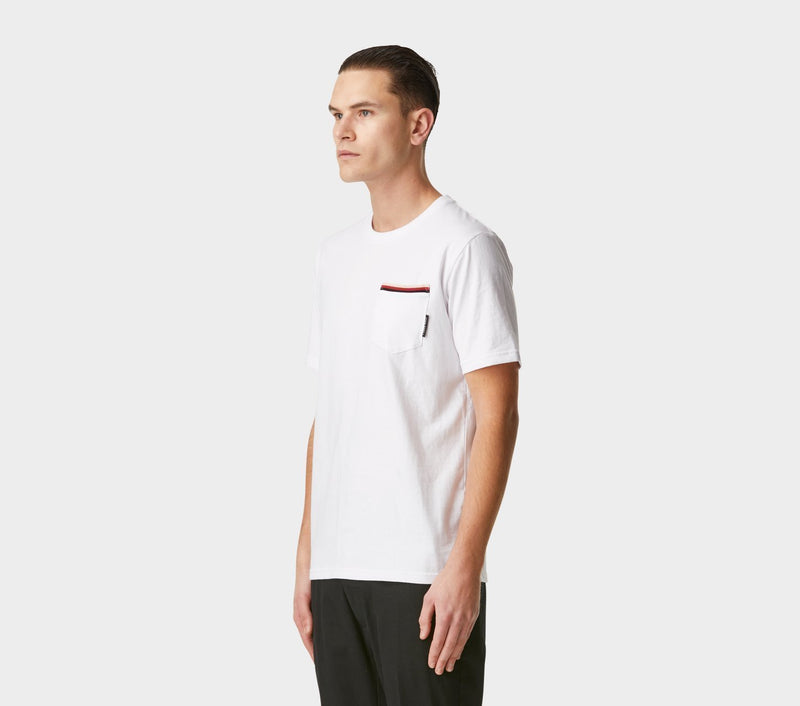 Striped Pocket Tee - White