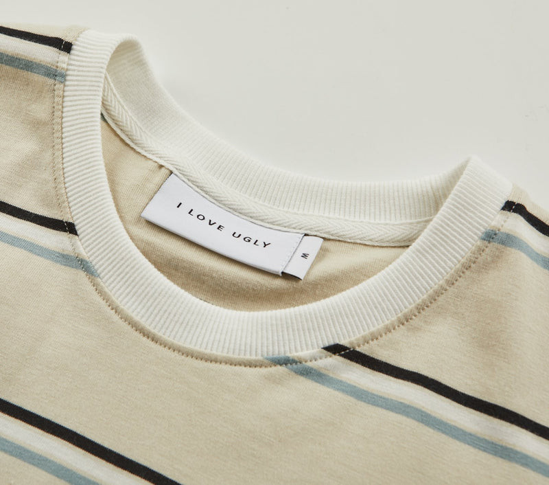 Stripe Logo Tee - Oatmeal/Black