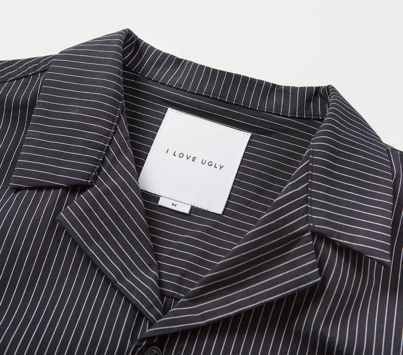 Striped Cuban Collar SS Shirt - Black/White