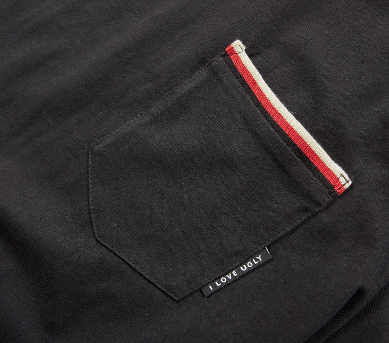 Striped Pocket Tee - Black