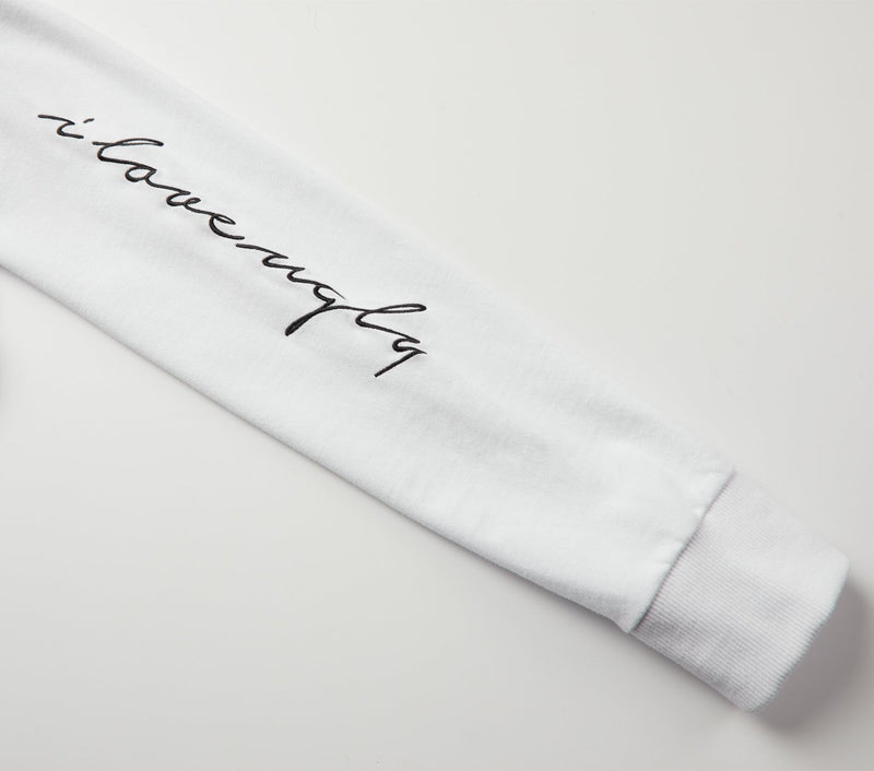 Script Sleeve Long Sleeve Tee - White