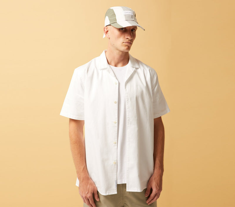 Cuban Collar Short Sleeve Shirt - White