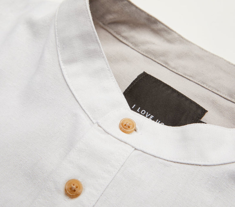 Mandarin Collar Shirt - White