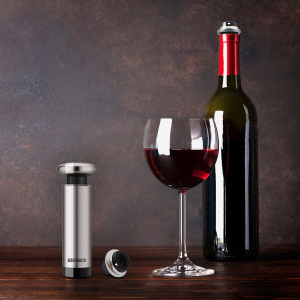 Wine Saver Vacuum Pump with 2 Wine Stoppers, Stainless Steel