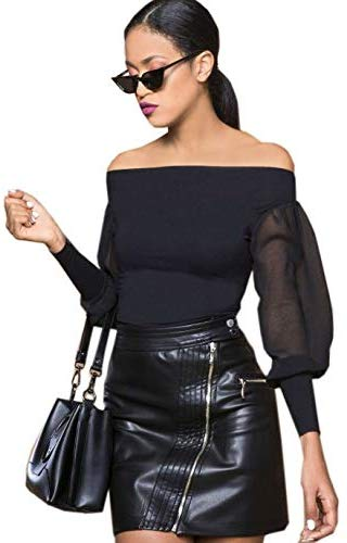 Amnesia Shelly Long Sleeve Off Shoulder Bodysuit for Women, Slim Fit Boat Neck - Black