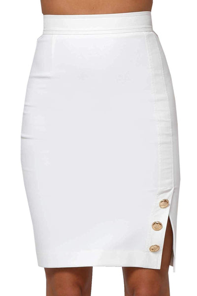 Amnesia Szamila Knee Length High Waist Pencil Skirt for Woman, Stretchy Fabric Casual Ladies Mini Skirts, Medium Large Plus Size, Buttons on Side - White