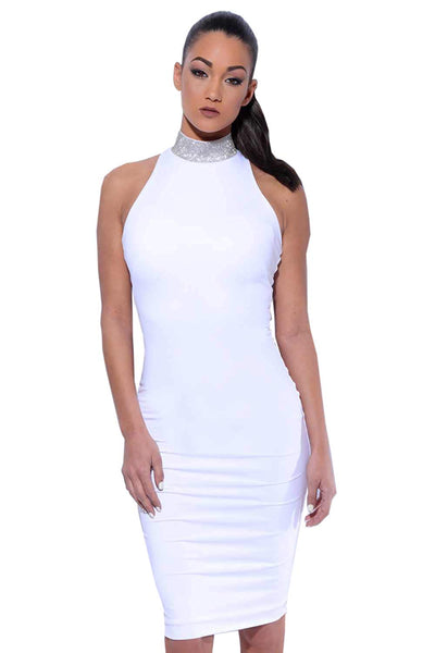 Amnesia Bodycon Halter Neck Knee Length Dress for Women - White, Black