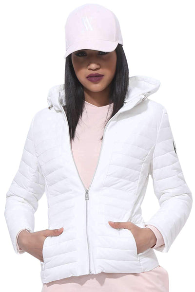 Amnesia (Black, Large) Lightweight Ladies Hooded Jacket, Quilted Spring Puffer Padded Jacket in Black and White