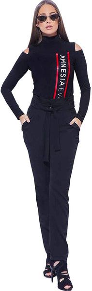Amnesia High Waist Belted Paper Bag Trousers for Women, Full Length Regular Fit Ladies Trousers with Side Pockets, Small Medium Large Plus Size - Black