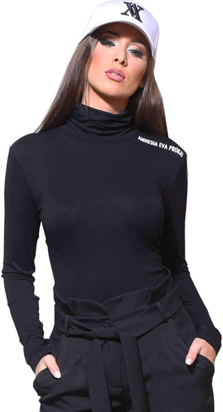 Amnesia Nemila Turtle Neck Slim Fit T-Shirt/Tops for Women, Lightweight Casual Stretchy Long Sleeve Elastic Ladies Viscose Tops - Black, Red, White