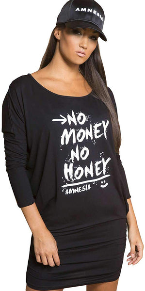 Amnesia Crew Neck Tunic Tops for Women, Long Sleeve Loose Fit Top