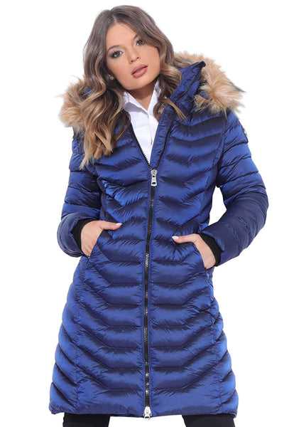 Amnesia Saphire Parka Hooded Zipper Jacket for Women, Lightweight Long Sleeve Faux Fur Quilted Padded Winter Ladies Puffer Jackets, Small Medium Large Plus Size - Blue