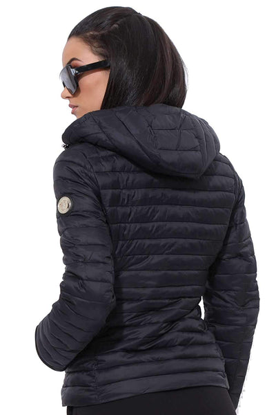 Amnesia (White, Medium) Lightweight Ladies Hooded Jacket, Quilted Spring Puffer Padded Jacket in Black and White