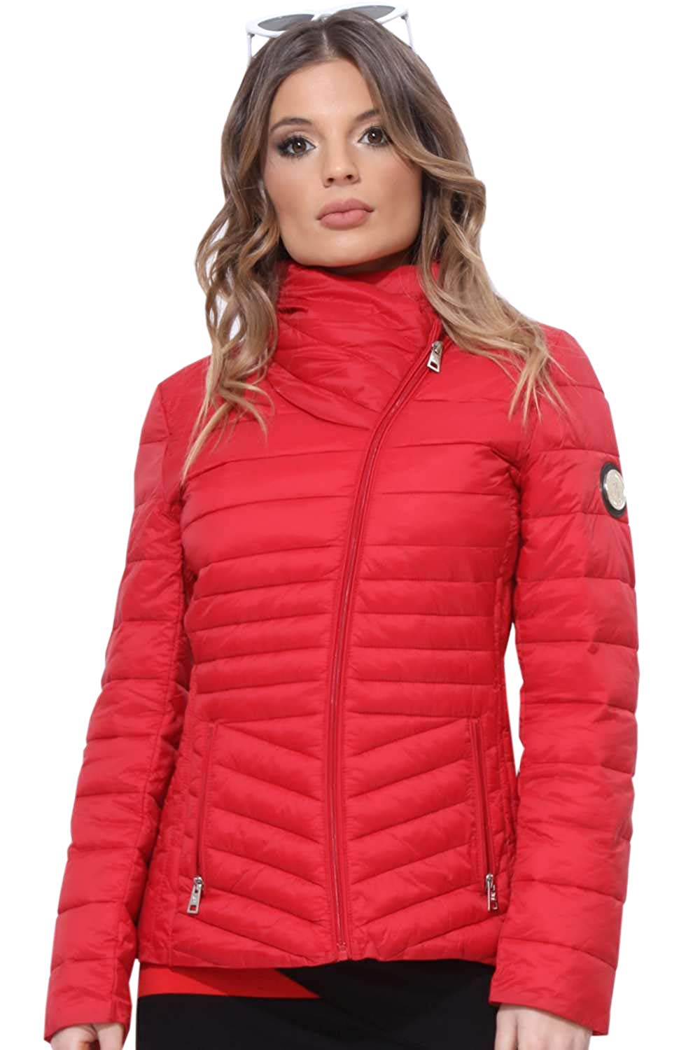Amnesia (Red, Medium) Lightweight Ladies Jacket, Quilted Spring Puffer Padded Jacket with Diagonal Zip in Black, Red and White
