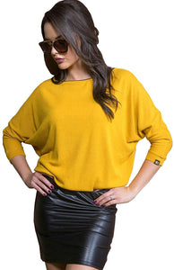 Amnesia Lightweight Regular Fit Boat Neck Tunic Tops for Women, Cold Shoulder Half Sleeve Loose Fit Ladies Polyester Tops with Leather Effect - Yellow