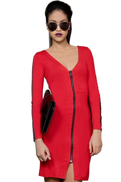 Amnesia Knee Length Split Hem Bodycon Knee Length Dress for Women, Lightweight Viscose Long Sleeve V Neck Ladies Tunic Dress, Zip on Front - Black, Red