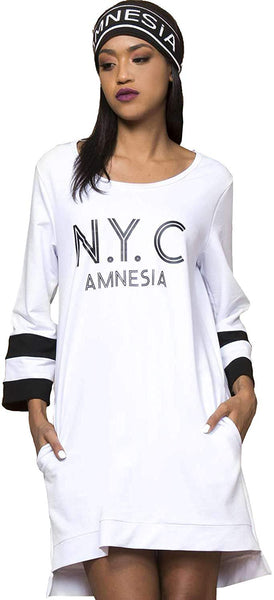 Amnesia Regular Fit Crew Neck Open Back Printed Tops for Women, Lightweight Casual Style Long Sleeve Loose Fit Ladies Cotton Tops - Black, White, Yellow