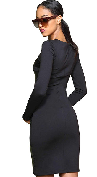 Amnesia Szaszir Knee Length Bodycon Dress for Women, Slim Fit Long Sleeve Round Neck Stretchy Ladies Bodycon Dresses, Zip on Back, Sizes 8-14 - Black