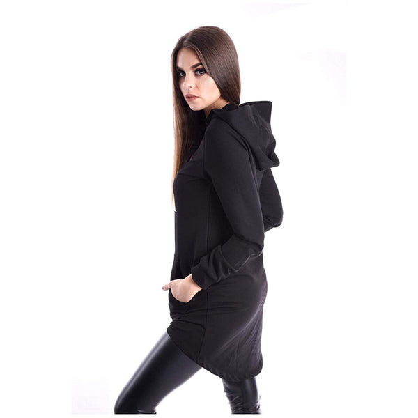Amnesia Long Sleeve Cotton Kangaroo Pocket Hoodie Top for Women, Long Stretchy Printed Ladies Cotton Hooded Sweatshirts, Small Medium Large Size - Black