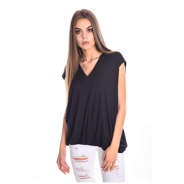 Amnesia Short Sleeve Tunic Long Vest Viscose Tops for Women, Lightweight Stretchy V Neck Loose Fit Casual T-Shirts Blouse for Ladies, Black, White