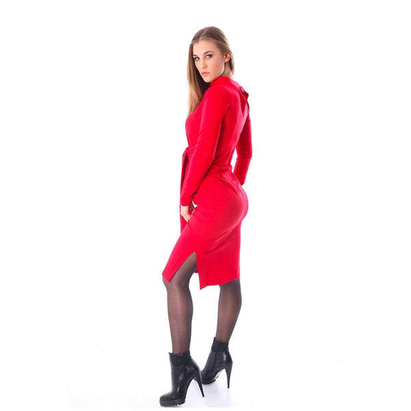 Amnesia Nilenko Knee Length Slim Fit Dress with Bow Belt for Women, Lightweight Viscose Fabric Long Sleeve Mock Neck Women Kimono Dress - Black and Red