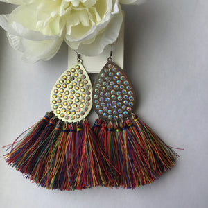 Large multicolored Tassel Earrings