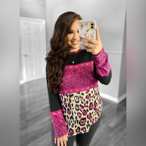 Pink Leopard and Leather top
