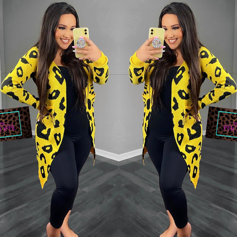 Yellow Leopard Cardigan