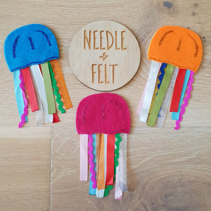 Three Jelly Fish Felt Finger Puppets