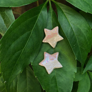 Pink Lustre Star Earrings
