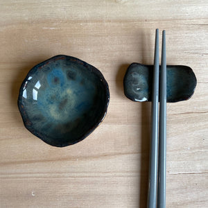 Dark Storm Dipping Bowl & Chopstick Holder Set