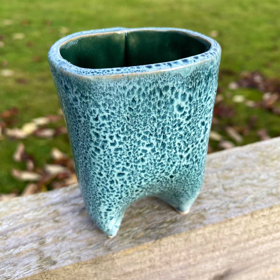 Small Turquoise Leopard-Spotted Planter