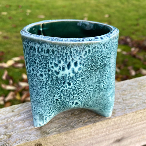Round Turquoise Leopard-Spotted Planter