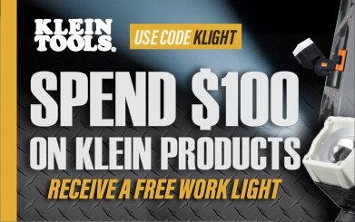 FREE Work Light with $100 Purchase. Use code KLIGHT