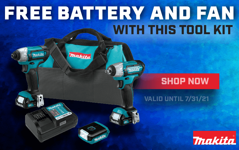 Free Makita Battery and Fan with this Tool Kit