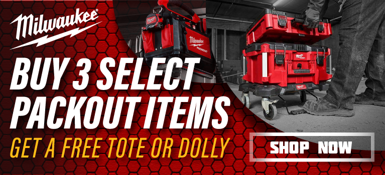 Free Tote or Dolly with 3 select Packout items. MILW-20102.