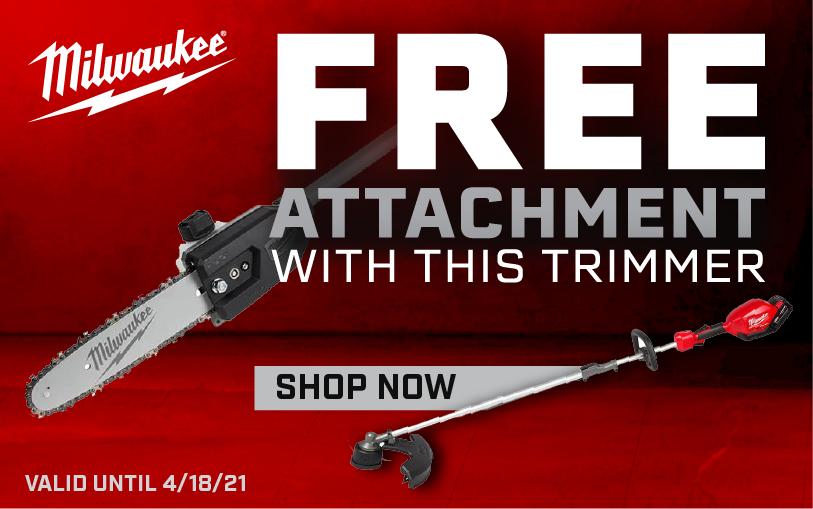 Free Milwaukee attachment with a string trimmer